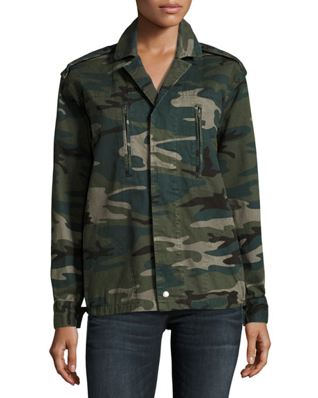 Trust the Universe Camouflage Military Jacket, Green