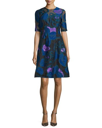 Holly Leaf Half-Sleeve Dress, Lapis/Multi