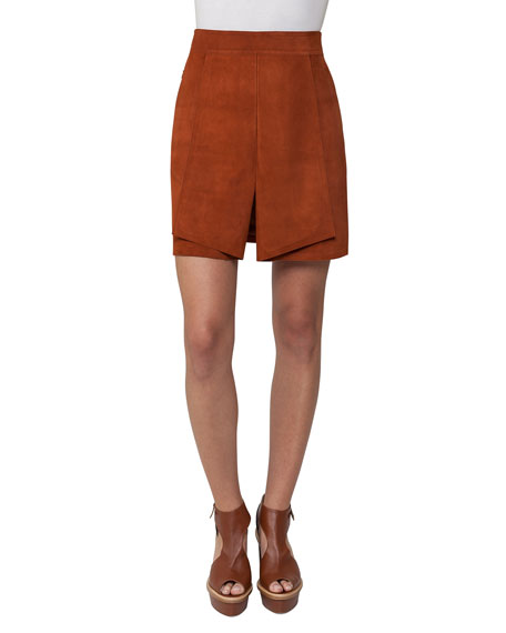 Akris Pleated Suede Mini Skirt, Marron