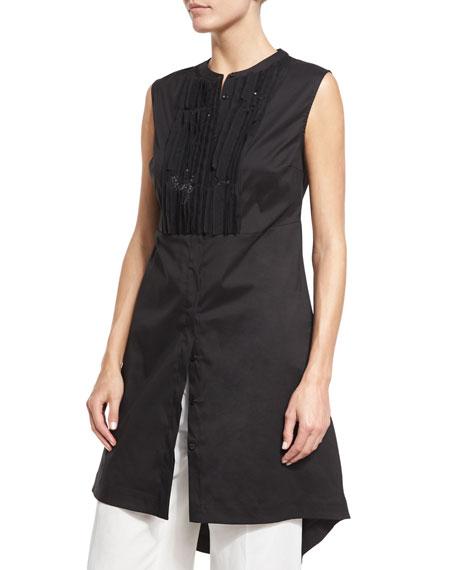 Brunello Cucinelli Sequined Sleeveless High-Low Tunic, Black