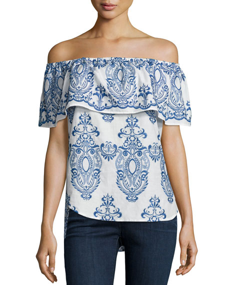 Finley Christina Embroidered Off-The-Shoulder Top, White/Blue