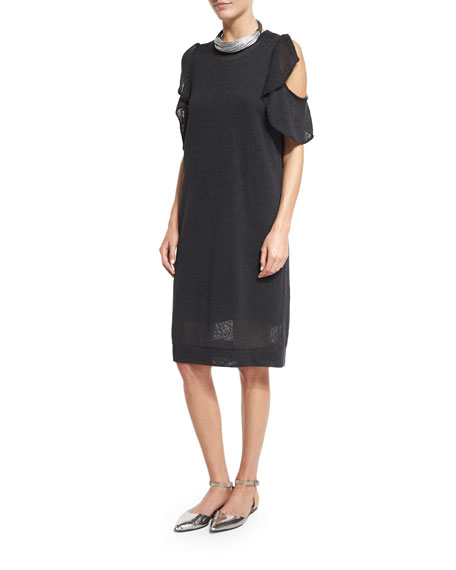 Brunello Cucinelli Paillette Ruffled Cold-Shoulder Dress, Dark