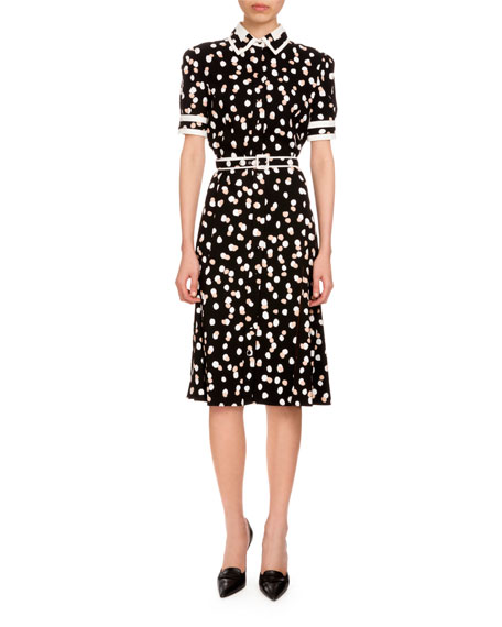 Altuzarra Ella Polka-Dot Short-Sleeve Shirtdress, Black