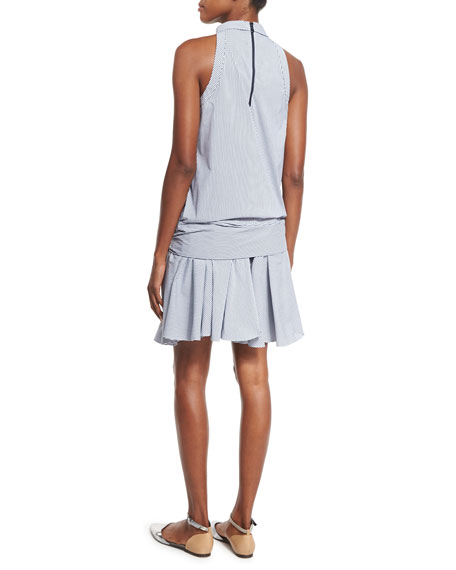 Striped Drop-Waist Sleeveless Dress, White/Blue