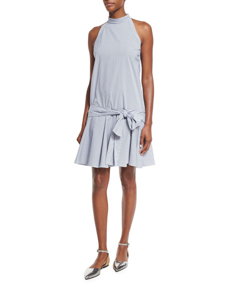 Brunello Cucinelli Striped Drop-Waist Sleeveless Dress, White/Blue