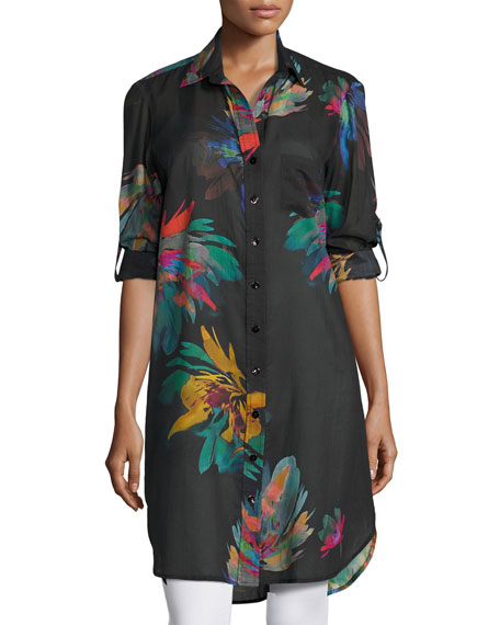 Finley Alex Long Floral-Print Cotton Shirtdress, Multi