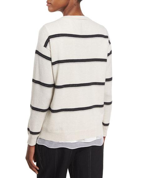 Monili-Stripe Cashmere Sweater, Beige
