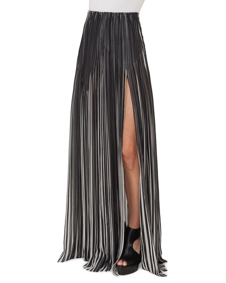 Akris Striped Plissé Silk Maxi Skirt, Black/Blanco