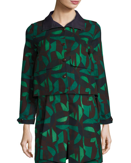 Garden-Print Short Jacket, Green/Black