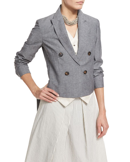 Brunello Cucinelli High-Low Double-Breasted Blazer w/Vest
