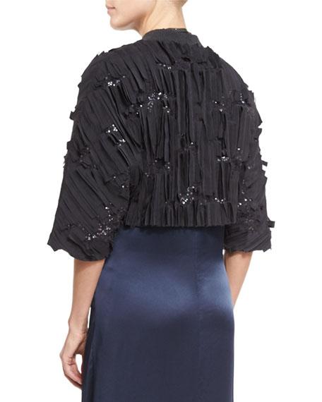 Pleated 3/4-Sleeve Cropped Bolero Jacket