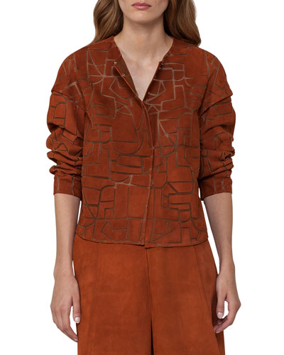 Geometric Suede Short Jacket, Marron