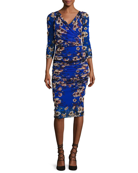 Fuzzi 3/4-Sleeve Ruched Floral-Print Sheath Dress, Multi