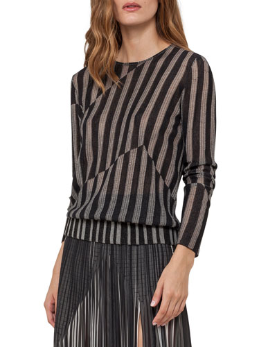 Striped Jacquard Pullover Sweater, Black/Marfil