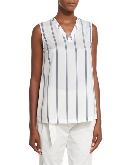 Brunello Cucinelli Regimental-Striped Silk V-Neck Top, White/Blue??