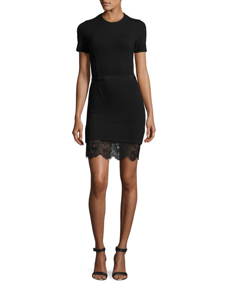 Carven Short-Sleeve Ponte Lace-Trim Sheath Dress, Black