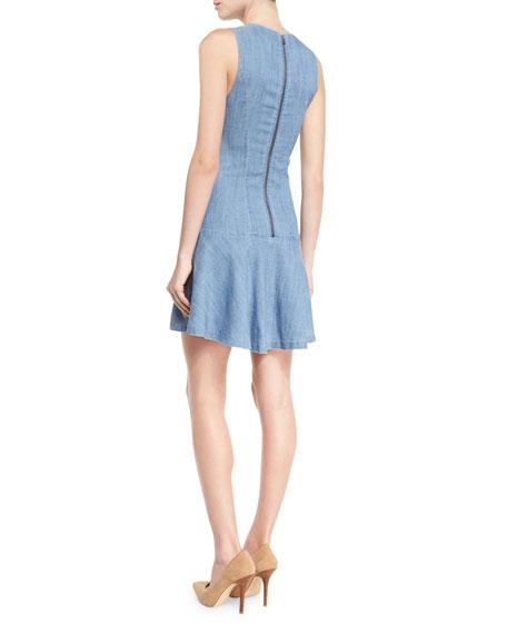 Elida Seamed Drop-Waist Chambray Dress