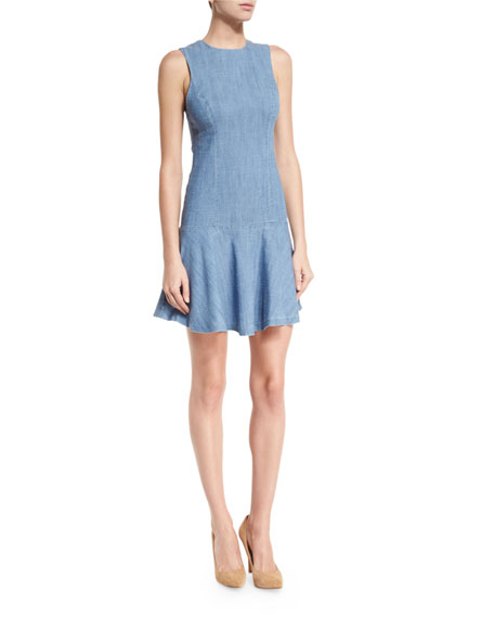 Elida Seamed Drop-Waist Chambray Dress