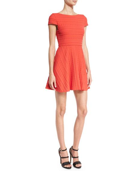 Shane Cap-Sleeve Skater Dress, Red
