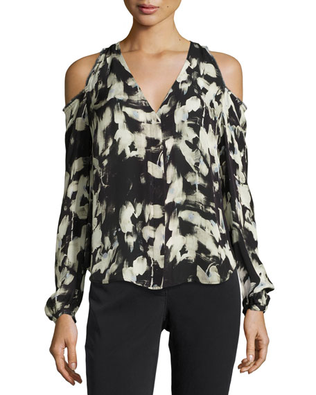 Go by Go Silk Painterly-Print Cold-Shoulder Blouse, Petite