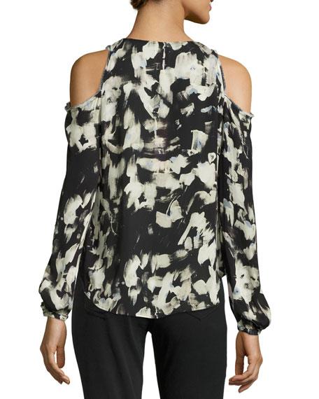 Painterly-Print Cold-Shoulder Blouse, Plus Size
