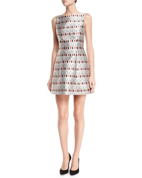 Alice + Olivia Lindsey Structured Cosmetics-Print Dress,