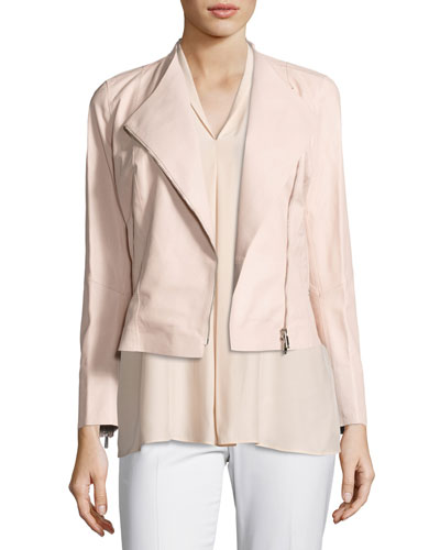 Brianna Embossed Lambskin Moto Jacket, Bright Pink Buy