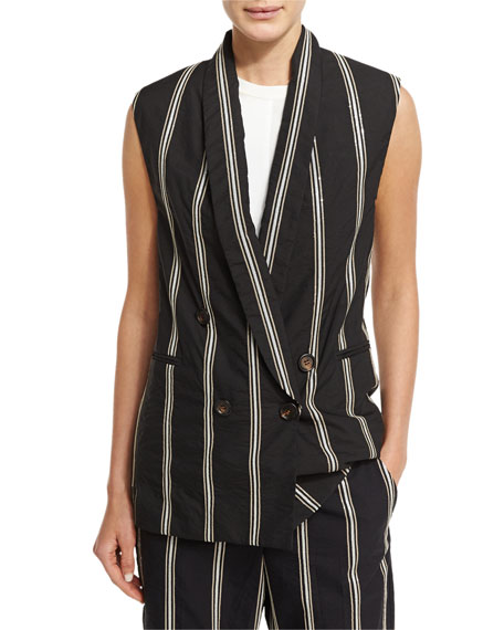 Paillette-Stripe Double-Breasted Vest, Black