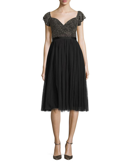 Needle & Thread Swan Cocktail Dress, Black