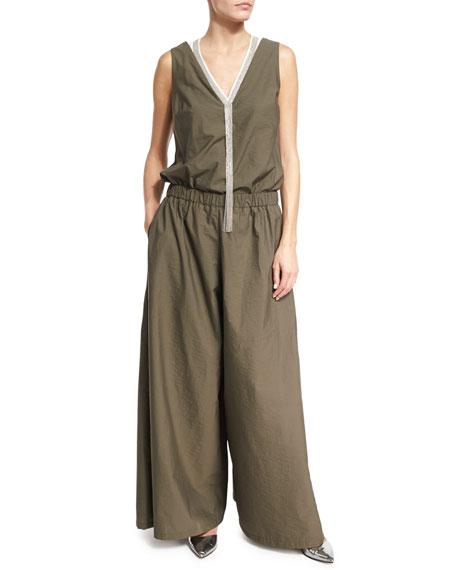 Brunello Cucinelli Poplin Wide-Leg Sleeveless Jumpsuit, Olive