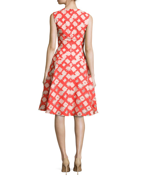 Sleeveless Godet A-Line Dress, Coral/Blush