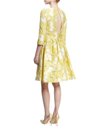 Floral 3/4-Sleeve Fit-&-Flare Dress, Lemon Daisy