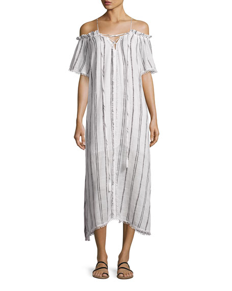 Red Carter Isla Off-the-Shoulder Striped Coverup Maxi Dress