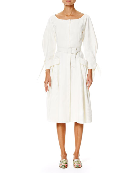 Carolina Herrera Tonal-Stripe Belted Boat-Neck Dress, White