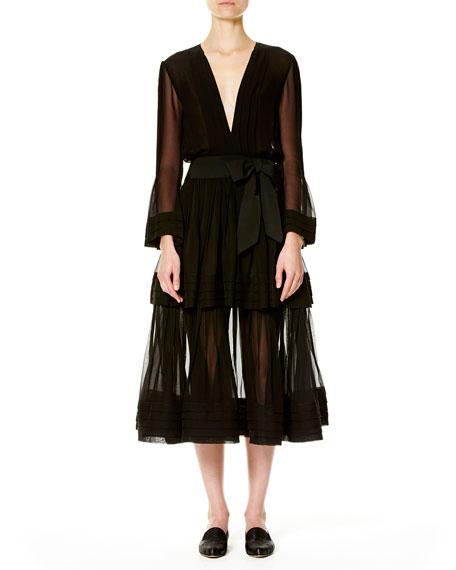 Carolina Herrera Deep-V Long-Sleeve Silk Dress, Black