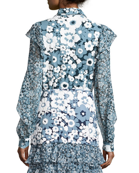Floral Ruffled-Trim Blouse, Blue/Pattern