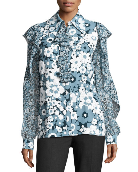 Floral Ruffled-Trim Blouse, Blue/Pattern