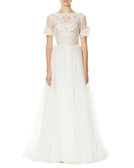 Carolina Herrera Soutache-Embroidered Tulle A-Line Gown, Ivory