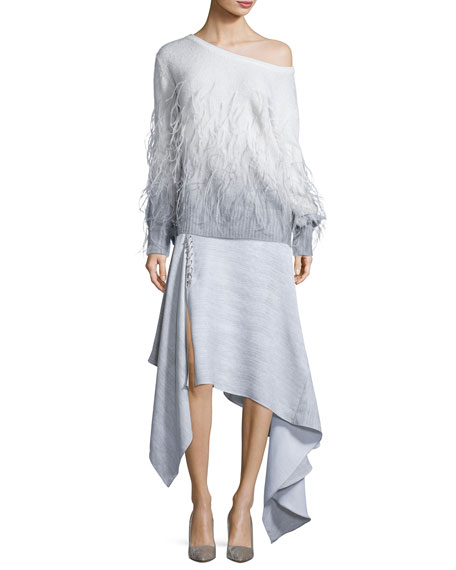 Pierced Handkerchief-Hem Skirt, Gray
