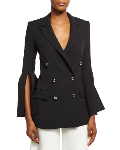 Bell-Sleeve Double-Breasted Jacket, Black