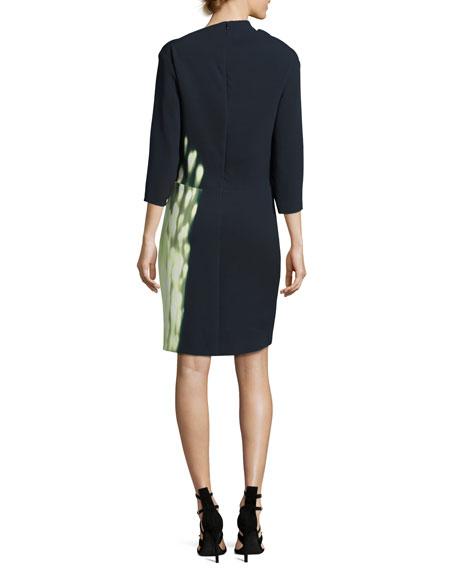 Dot-Print Drape-Neck 3/4-Sleeve Dress, Blue/Orange