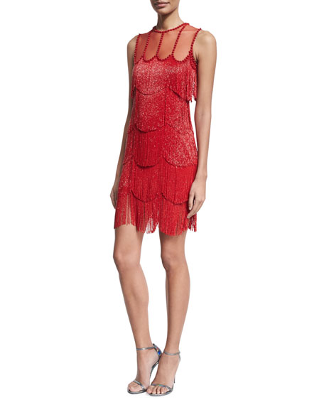 naeem khan beaded fringe sleeveless cocktail dress red neiman marcus