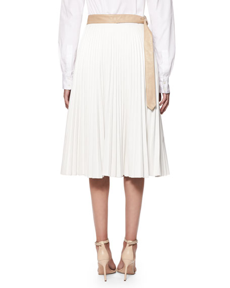 Pleated Colorblock Leather Skirt, Multi