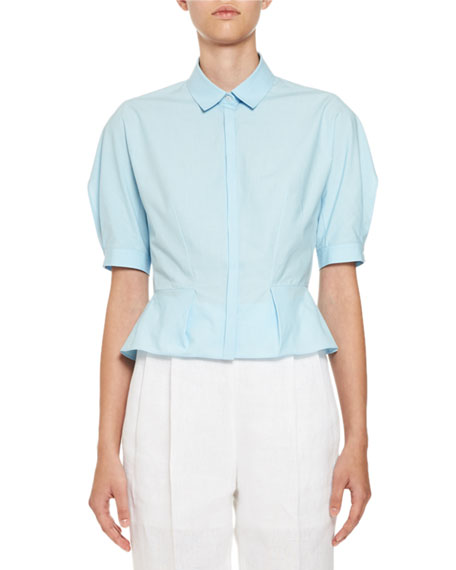 Crop-Sleeve Button-Front Blouse, Blue