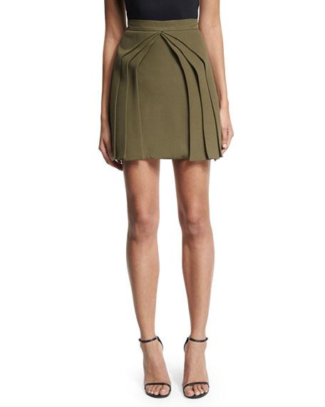 Brandon Maxwell Layered Silk Mini Skirt, Olive