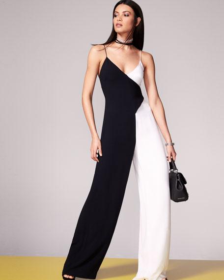 Cushnie Et Ochs Colorblock Sleeveless V-Neck Jumpsuit, Black/White