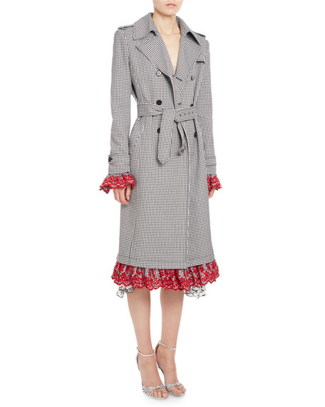 Altuzarra Mesquite Gingham Lace-Cuff Trenchcoat, Black/White