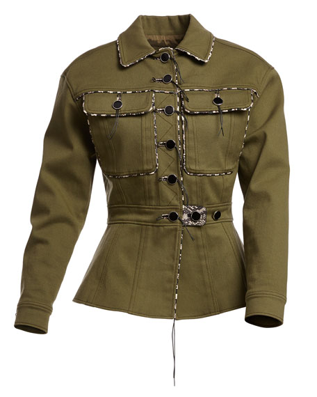 Feday Patch-Pocket Military Jacket, Olive Green Best Price