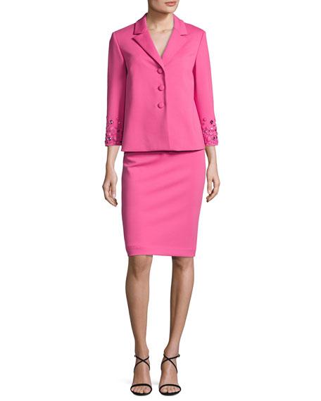 Albert Nipon Embellished 3/4-Sleeve Jacket w/ Pencil Skirt,