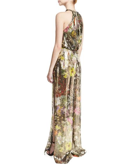 Floral Metallic Lamé Sleeveless Jumpsuit, Multi